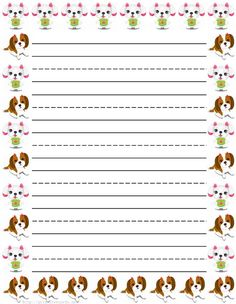 girl dogs free printable kids stationery free printable writing paper for kids primary lined
