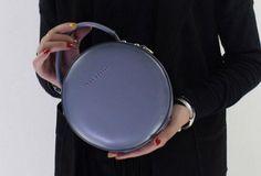 Genuine Leather round bag shoulder bag black for women leather crossbo | EverHandmade