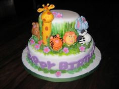 Zoo Themed Cake . i want this for tylers 1st birthday just more boyish colors :)