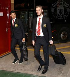 PIC: David De Gea and Marcos Rojo arrive at Old Trafford. Both start for United vs Cambridge. #mufclive