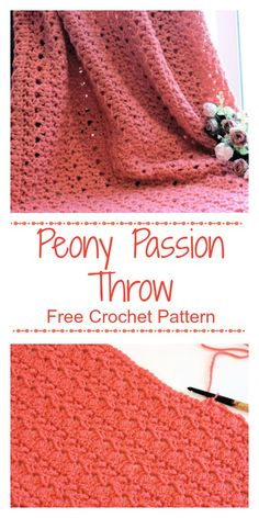 Crochet Afghan Patterns Free Crochet Pattern at CrochetKim in Red Heart Super Saver: Peony Passion Throw Crochet Blanket Tutorial, Crochet Throw Pattern, Crochet For Beginners Blanket, Afghan Crochet Patterns, Baby Blanket Crochet, Crochet Blankets, Baby Blankets, Crochet Afghans, Easy Crochet