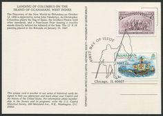 "United States Scott #2625a (22 May 1992) Landing of Columbus: the Landing is the act of going or setting on shore from a vessel.   Bahamas Scott #464 (09 Jul 1980) Landfall of Columbus in 1492: The Landfall, in nautical language, is the first land sighted after a voyage.  Both stamps tied to postcard showing the painting ""Landing of Columbus"" by John Vanderlyn. ""As Christopher Columbus plants the flag of Spain, the Pinzón brothers hold other standards, and a Franciscan Friar bearing a…"