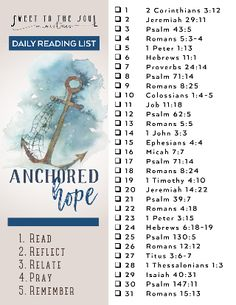 Sweet To The Soul Ministries - Anchored Hope - 31 Day Scripture Reading list Bible Study Notebook, Bible Study Plans, Bible Plan, Bible Study Tips, Bible Study Journal, Bible Lessons, Scripture Journal, Scripture Reading, Daily Scripture