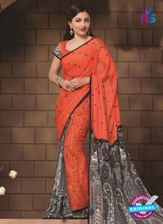 SC 12325 Orange and Grey Party Wear Georgette Designer Saree
