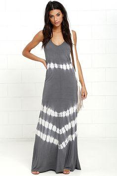 274717d57500 Olive  amp  Oak Misty Morning Dark Grey Tie-Dye Maxi Dress at Lulus.