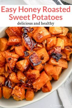 Honey Roasted Sweet Potatoes Easy and addictive honey roasted sweet potatoes with garlic that are ready in thirty minutes and come out crispy on the outside and perfectly tender on the inside. How to roast sweet potatoes, the easy way. This healthy recipe Veggie Dishes, Vegetable Recipes, Vegetarian Recipes, Cooking Recipes, Healthy Recipes, Sweet Potato Recipes Healthy, Pasta Recipes, Vegan Vegetarian, Chicken Recipes