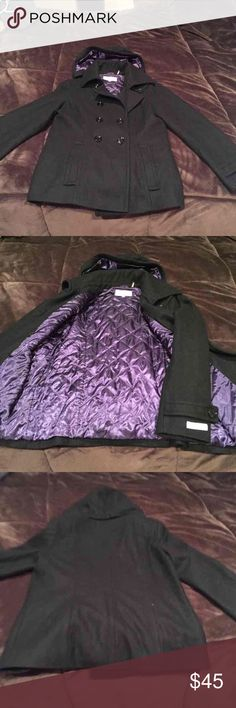 Calvin Klein women's Pea coat. New, beautiful purple silk on inside very classy stylish Pea coat by Calvin Klein size 10 can fit a medium or a small large Calvin Klein Jackets & Coats Pea Coats