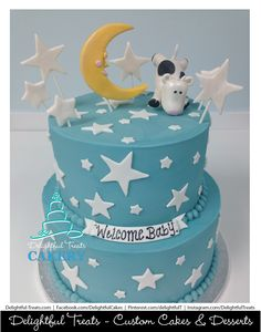 Cow Jumped Over the Moon Buttercream Babyshower Cake by Delightful Treats | #Cow #Jumped #Over #theMoon #Buttercream #Babyshower #Cake #DelightfulTreats #CowJumpedOverTheMoonCake #CowJumpedOverTheMoon #BabyshowerCake #OrlandoCakes #OrlandoBabyshowerCake #Cakery