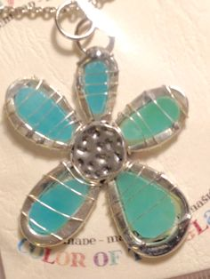 Turquoise glass and metal pendantM