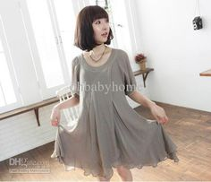 2014 summer Korean maternity dress pregnant women dress chiffon skirt half Sleeve