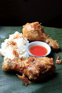 Thai style fried chicken. Oh my.... Too good... Sprinkle with chilli flakes and serve with peanut sauce...