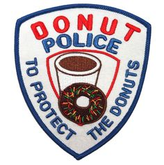 Novelty Donut Police To Protect The Donuts Embroidered Iron On Patch Applique #CoolPatches