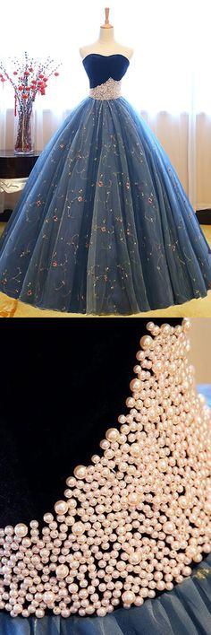 strapless blue ball gowns with pearls, fashion formal evening gown, chic prom dresses.