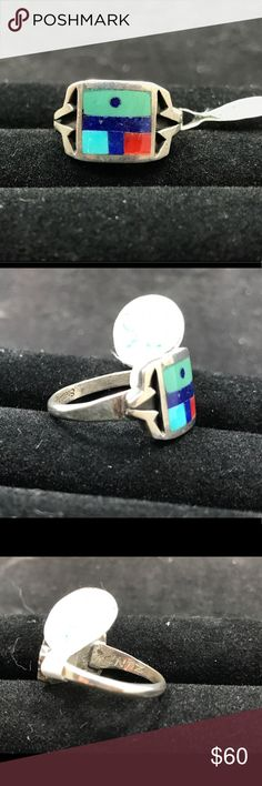 Zuni mosaic ring Sterling silver mosaic inlay ring. Signed, Zuni. Native American Jewelry Rings