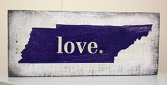 Tennessee love distressed navy and white wood sign by SignNiche, $28.00