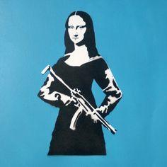 Mona Lisa Bang @mamhelsinki #stencil #stencilart #streetart #skipidipidii