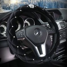 $20.65 Hot Winter Steering Wheel Crystal Crown Auto Fur Cases For Women Girls Car styling - Black, No stimulation, Non-Slip, Excellent breathability, pest control, sterilization, anti-static, Easy to clean, no deformation, high wear resistance, Four Seasons General.
