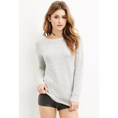 Forever 21 Fuzzy Knit Sweater ($23) ❤ liked on Polyvore featuring tops, sweaters, knit sweater, women tops, forever 21 tops, white top and forever 21