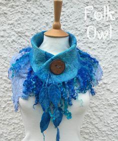 Mer bleu foulard-dentelle et col en feutrine - bleu col col - fée unique mariée-foulard écharpe - col en laine - lace scarf-- dentelle