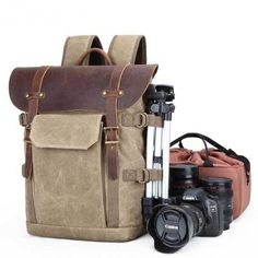 Wholesale New Vintage dslr Canvas Leather backpack men Travel Waterproof Laptop And Camera Bag Casual School Outdoor Hiking bag Camera Bag Insert, Camera Bag Purse, Camera Bags, Men's Backpack, Canvas Backpack, Photography Bags, Inspiring Photography