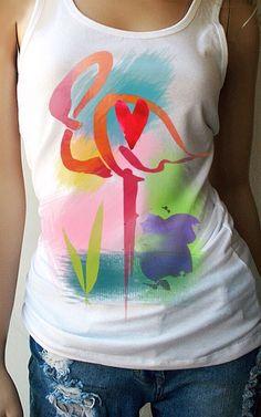 Colorful shirt by TShirt-Addict on Etsy https://www.etsy.com/listing/217440998/flamingo-tank-top-flamingo-shirt