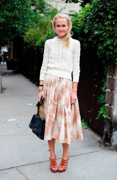 light sweater + midi skirt