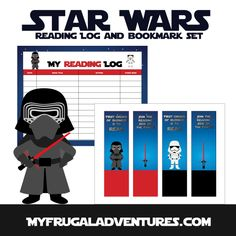 Free printable Star Wars bookmarks and reading log.  Perfect way to add fun to your child's reading.