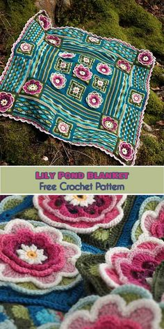 Lily Pond Blanket Free Crochet Pattern | Your Crochet #freecrochetpatterns #crochetblanket #crochetflowers #crochetflowers
