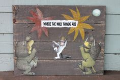 Handmade Rustic Reclaimed Wooden Wood Pallet Boards Nursery Kids Room Art Decor Wall Hanging Storybook Pages Where The Wild Things Are $45