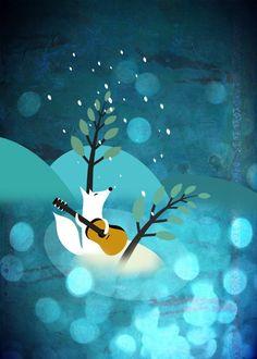 Fox Christmas Card Illustration