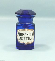 19c. COBALT BLUE APOTHECARY PHARMACY FACET CRYSTAL GLASS BOTTLE MORPHIUM ACETIC