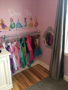 Girls Dress up corner perfect for a little princess Girls Dress up corner perfect for a little princess Say Goodbye To Dangerous Metal Bristles Girl's Princess Room Decor Little Girl Dress Up, Girls Dress Up, Baby Dress, Toddler Dress Up, Disney Princess Bedroom, Princess Curtains, Toddler Princess Room, Toddler Girl Rooms, Disney Girls Room