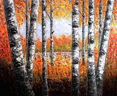 Birches Forest - palette knife painting by Georgeta Blanaru