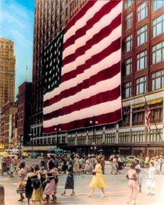 Giant American Flag    Over The    Downtown Detroit    J.L. Hudson's    Department Store    C. 1950