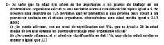 Ejercicio 2B 2000-2001 JUNIO. Contraste de hipótesis.  Pau de matemática para ciencias sociales, Canarias.