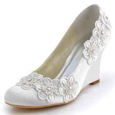 Minitoo GYMZ692 Womens Handmade Customized Wedge High Heel Round Toe Satin Evening Party Bridal Wedding Appliques Shoes Pumps:Amazon:Shoes