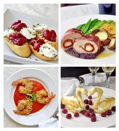 A 4 Course Valentines Day Dinner Menu - before dinner champagne nibbles, appetizer, main course and a sweet, romantic dessert. Your sweetheart will love it!
