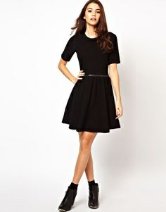 ASOS Knitted Dress With Leather Look Waistband.