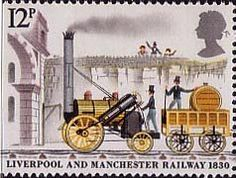 150th Anniversary of Liverpool and Manchester Railway 12p Stamp (1980) Rocket approaching Moorish Arch, Liverpool