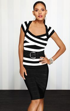 The banded knit colorblock top hugs your curves in all the right ways!  #whbm #spring