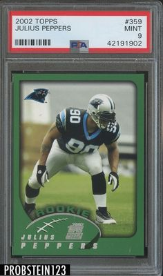 2002 Topps  359 Julius Peppers Carolina Panthers RC Rookie PSA 9 MINT 04996ea10