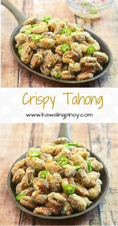 Crispy Tahong (Deep-Fried Mussels) Crispy Tahong (Deep-Fried Mussels) are mussel meat dredged in flour and cornstarch and deep fried until golden and crisp Fish Recipes, Meat Recipes, Seafood Recipes, Asian Recipes, Cooking Recipes, Healthy Recipes, Ethnic Recipes, Easy Filipino Recipes, Mussel Meat Recipe