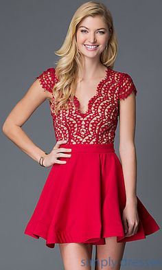 Dresses, Formal, Prom Dresses, Evening Wear: Fun and Flirty Red Open Back Lace Bodice Cap Sleeve Dress
