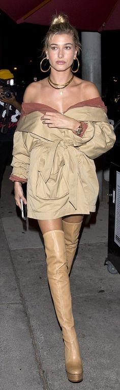 Hailey Baldwin wearing Sweatshirt/dress – LPA Shoes – Casadei Jewelry – Jennifer Fisher