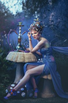 Alice by EmilySoto.deviantart.com on @deviantART - great inspiration for a blue caterpillar costume. Great shoot.