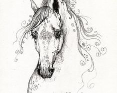 Cheval arabe original stylo de dessin par AngelHorses sur Etsy