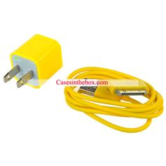 Yellow USB Power Adapter   Data Cable for iPhone US$3.69