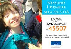 Che super #sorriso la nostra testimonial numero 1: Ginevra! Regaliamo tanti altri #sorrisi inviando un #SMSsolidale al 45507 o chiamando lo stesso numero da rete fissa. Nessuno è #disabile alla #felicità! #FondazioneAriel #solidarietà #campagnaSMS #bambini #disabilità