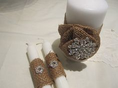 Wedding Unity Candles  Burlap and Pearls  by frenchcountry1908, $35.00
