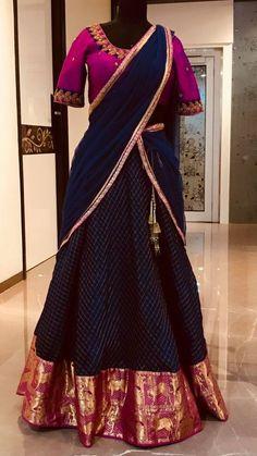Vasthra Creations. Kukatpally 500072 Hyderabad. Contact : 070137 28388. Half Saree Designs, Lehenga Designs, Blouse Designs, Dress Designs, Indian Designer Outfits, Designer Dresses, Half Saree Lehenga, Saree Blouse, Indian Fashion
